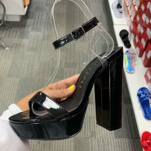 Shoes - Black patent platform heel